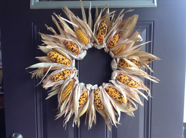 Corn wreath. Yellow corn from the back field I painted to look like Indian corn.