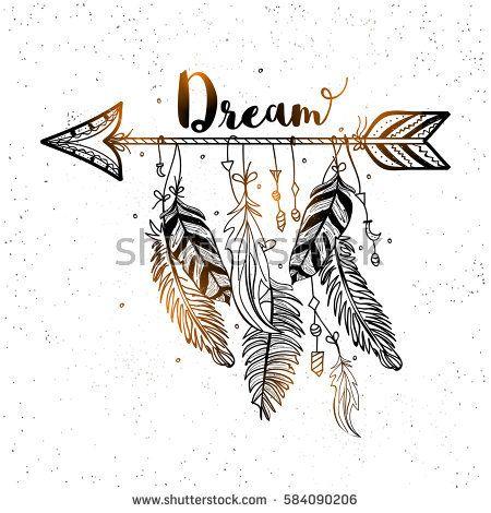Boho style, Hand drawn dreamcatcher with ethnic ar…