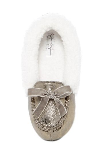 Metallic Bow Faux Fur Moccasin Slipper   by Jessica Simpson on @nordstrom_rack