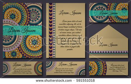 Set of invitation templates with colorful tribal mandalas. Ethnic wedding and invitation cards. Vector illustration.