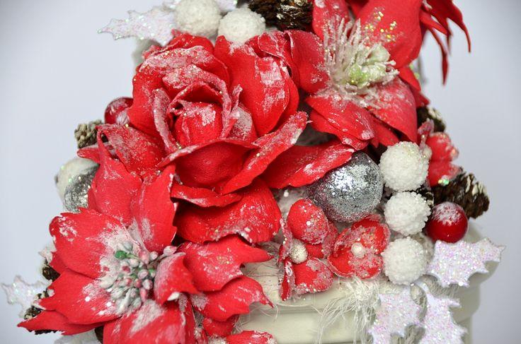 Foamiran flowers. Kwiaty z foamiranu. Poinsecje / poinsettias. Christmas / Boże Narodzenie.