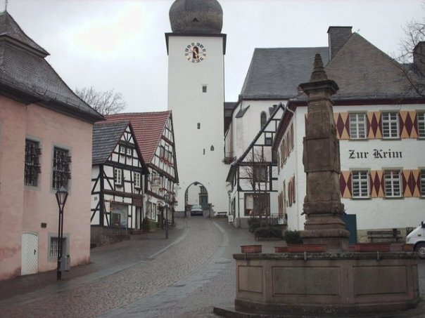 Old city of Arnsberg, Germany I was born behind the clock tower, I walked those streets so often with my grandma