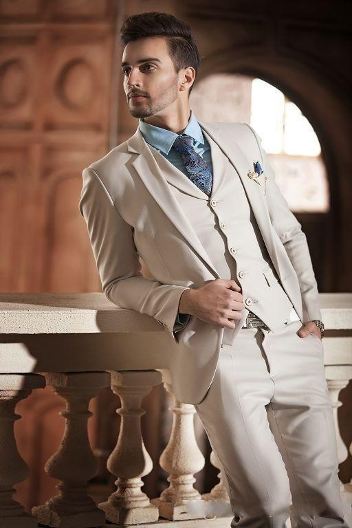 New Handsome Light Beige Groom Tuxedos Men S Wedding Dress