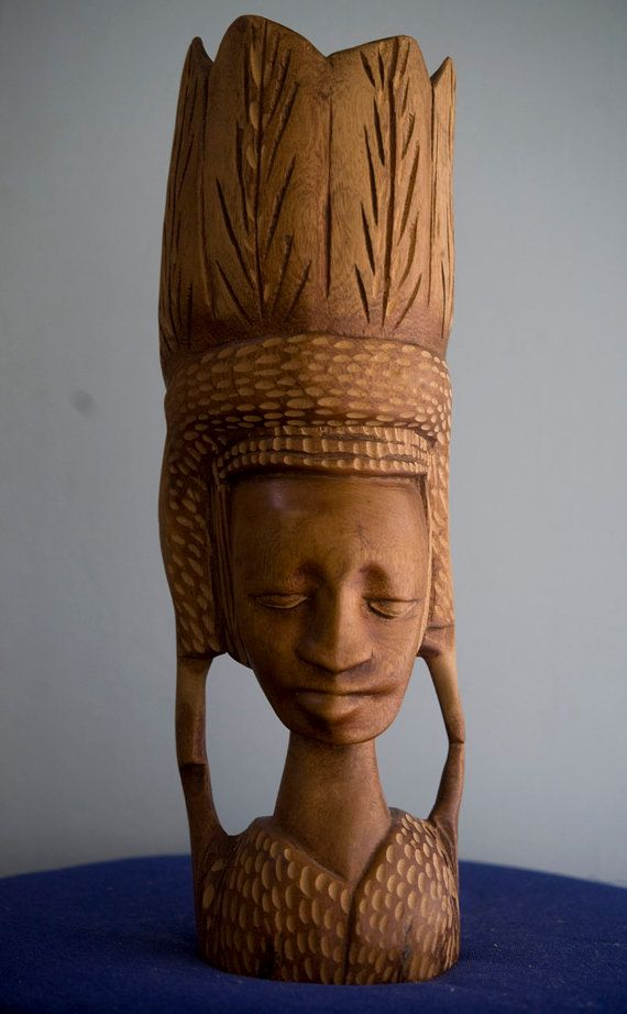 Exquisite tribal african wood carving woman man by
