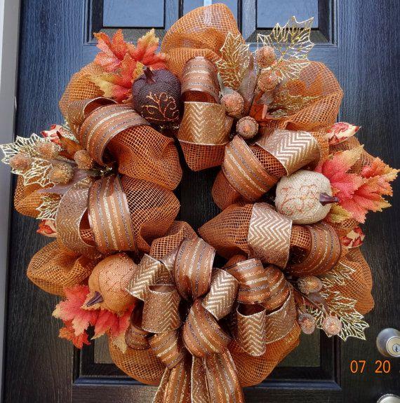 Premium Fall or Thanksgiving Deco Mesh Wreath with Burlap Pumpkins(Large) - Pumpkin wreath, fall wreath, Thanksgiving Wreath, Harvest wreath on Etsy, $97.00