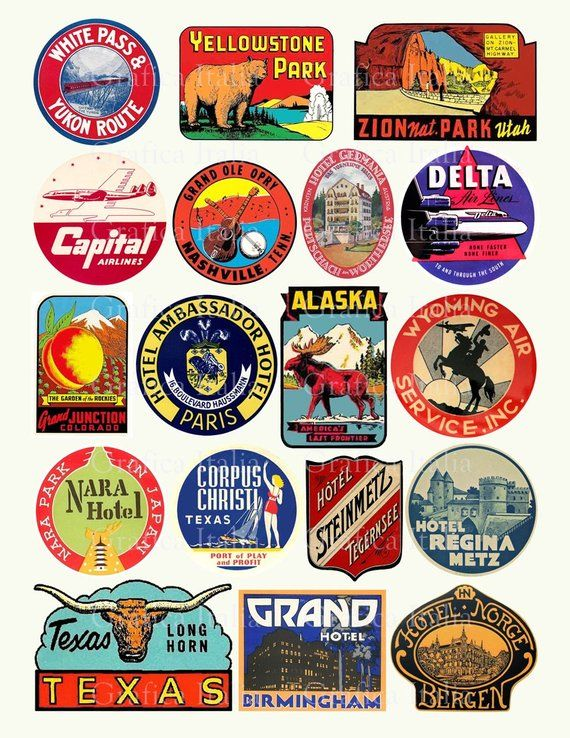 18 Travel Luggage Stickers Retro Digital Printable Collage Sheets Vintage Suitcase Labels Instan Luggage Stickers Printable Collage Sheet Vintage Labels