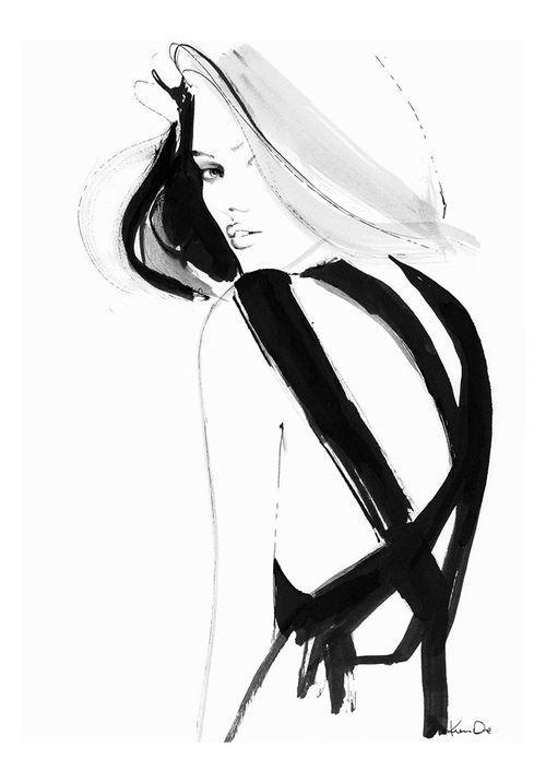 Stylish black & white fashion illustration // Kornelia Dębosz