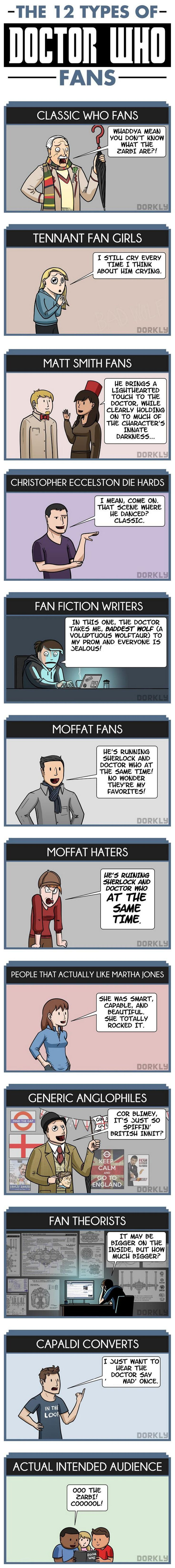 The 12 Types of Doctor Who Fans -- haha so I fall under Matt Smith fans, Moffat fans (sorta - DW is not always strong writing-wise, but still a fave), people that actually like Martha Jones, generic Anglophiles and fan theorists... I have also become a Capaldi convert - he's so sherlock.