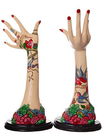 Retro Tattooed Mannequin Hands Set by Katherine's Collection, Home Decor, Multi