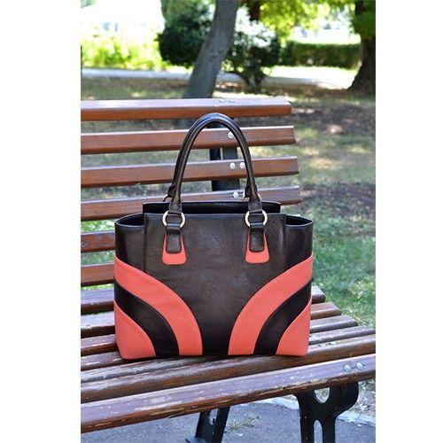 Geanta din piele cu benzi colorate in colturi, geanta dama