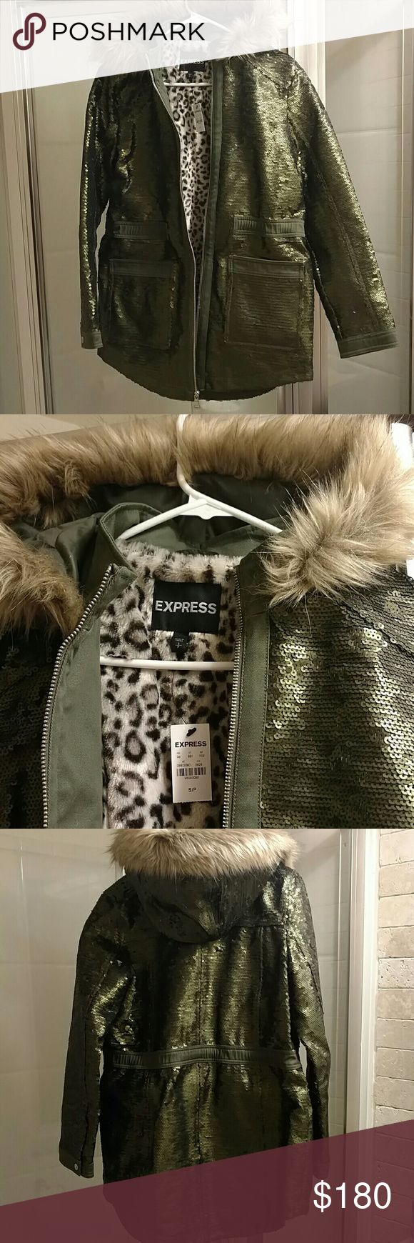 Express Olive green sequin coat Very cool. Olive green sequins cover this coat. Faux fur hood trim. Faux leopard fur inside. NWT, never worn. Thanks for looking!! Express Jackets & Coats