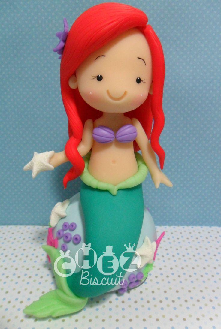 Topo de bolo de biscuit, Ariel in Clay, modelado,cold porcelain,princesa de biscuit, sereia, little mermaid in clay