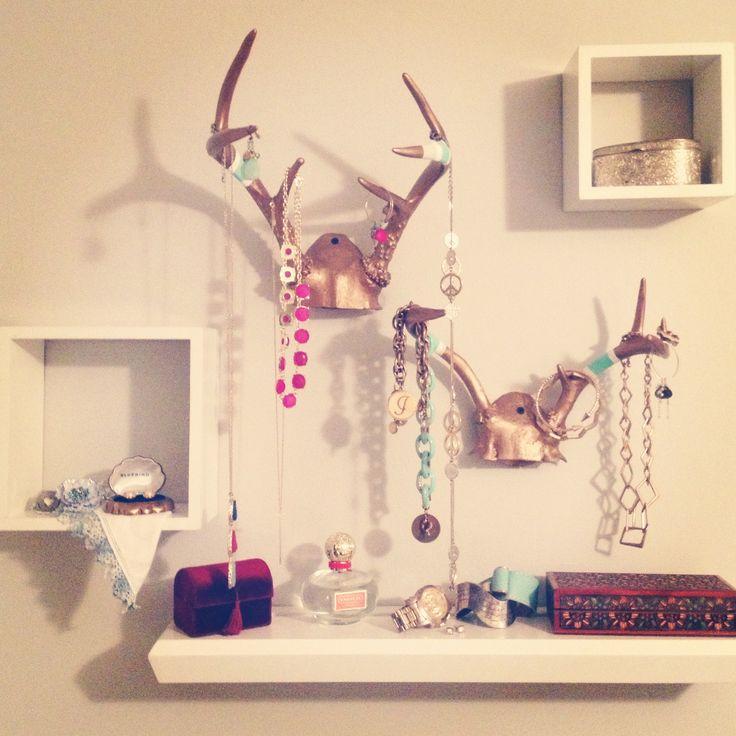 My painted deer antler jewelry wall