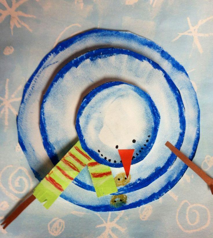 Sneeuwpop 3 cirkels in verschillende grootte. Dikke rand wasco eromheen en naar binnen vegen. De cirkels met een blokje ertussen op elkaar plakken