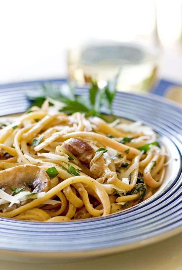 An easy pasta dish with leftover ham, mushroom, greens and spices. mjskitchen.com @MJs Kitchen