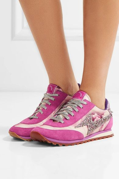 Rubber sole measures approximately 25mm/ 1 inch Multicolored canvas, leather and suede Lace-up front