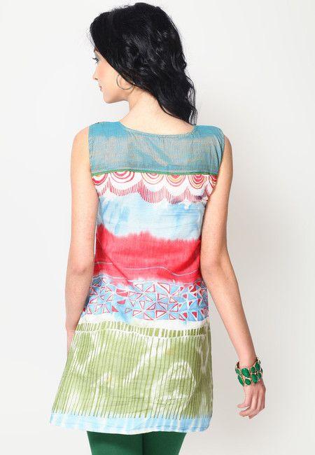 Sleeve Less Embellished Multi Kurti Online Shopping - 18 Fire | 18705WA41BNIINDFAS