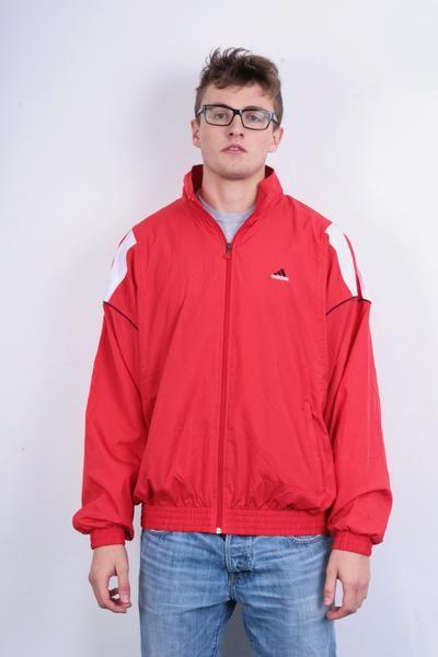 Adidas Mens 44/46 Sweatshirt Red Jacket Tracksuit Sportswear Full Zipper - RetrospectClothes