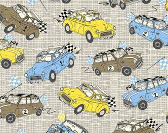 Mini Cooper Britse klassieke auto's Minis katoen stof geel grijs blauw door Inprint Jane Makower stoffen per vet kwartaal per meter