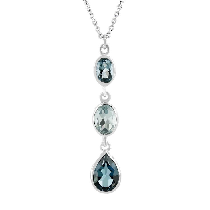 Sterling Silver London Blue Topaz  Oval and Pear Necklace