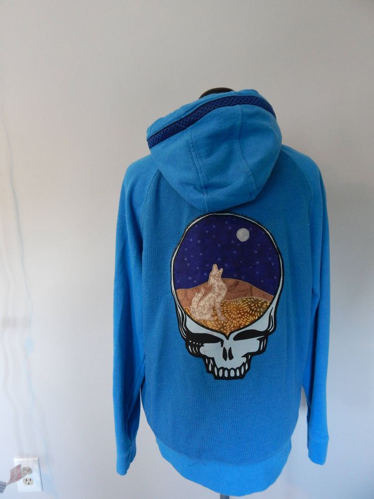 Mens Hoodie, Grateful Dead Wolf Steal Your Face, Full Zip Hoodie, Size S Hoodie, Guys Hoodie,Zip Up Hoodie, Festival Clothes, sweatshirt, by attickpatchwork on Etsy https://www.etsy.com/listing/534298813/mens-hoodie-grateful-dead-wolf-steal