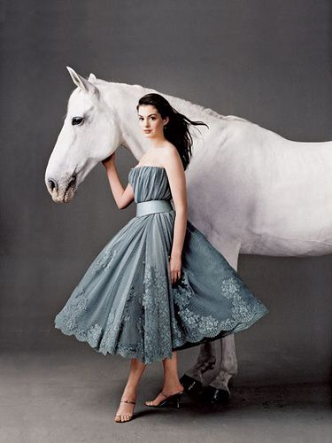 Anne Hathaway: from Vanity Fair: Fashion, Vanity Fair, Style, Dresses, Beautiful, White Horses, Photography, Anne Hathaway, Animal