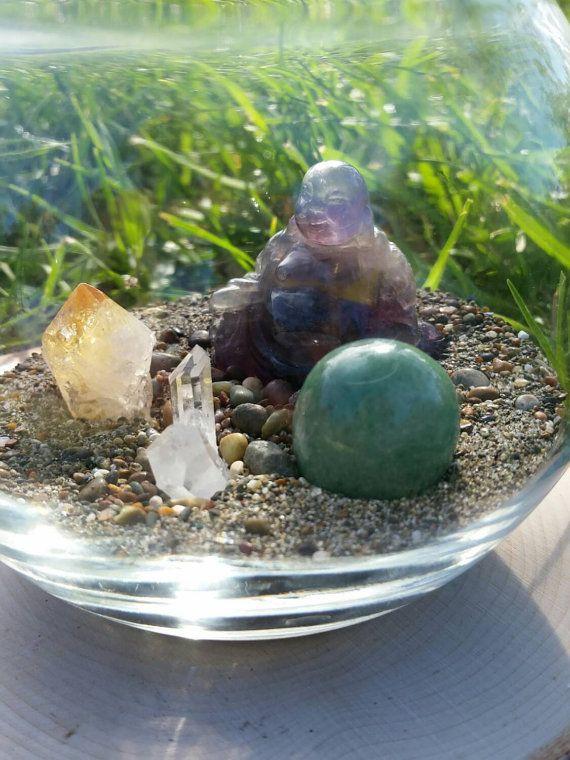 Abundance Crystal Terrarium. Moonstone Beach Sand by SolsticeLTD
