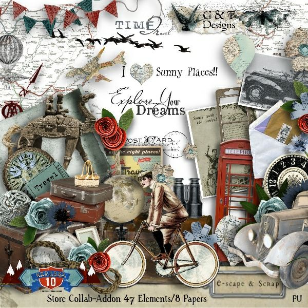 G & T DESIGNS EXPLORE10 COLLAB ADD ON KIT . Now available at E-scape and Scrap. The add-on includes  42 Elements, 8 Papers, 2 Frames, and 3 Wordarts at 50% off