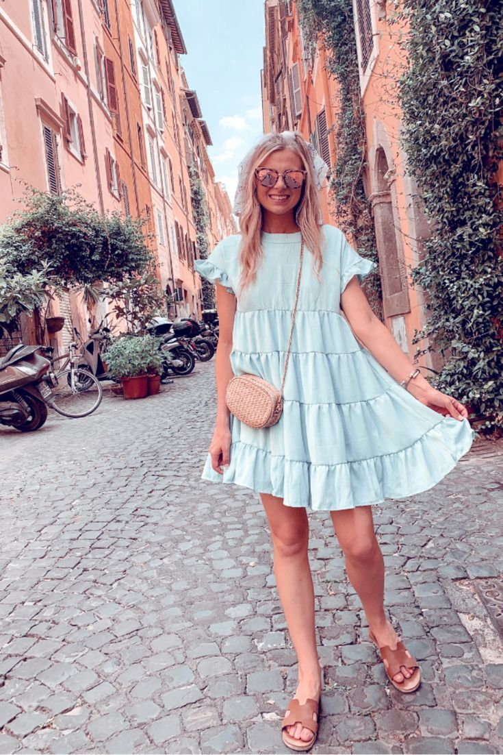 Summer Dress Wedding Guest Dress Casual Dress Rome Italy Street Style Casual Street Style Tiered Dress Summer Dresses Casual Summer Dresses Indie Dresses [ 1102 x 735 Pixel ]