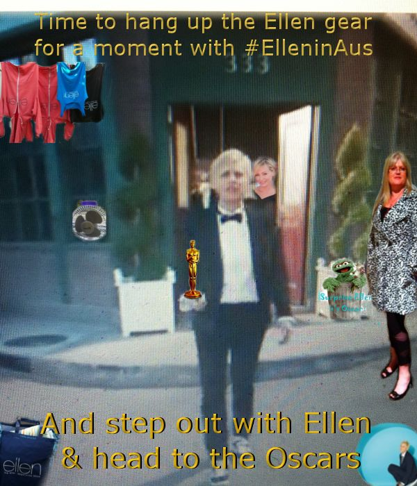Oh I am hanging up the #Ellengear and dressing up to step out with #Ellen for the #Oscars!!