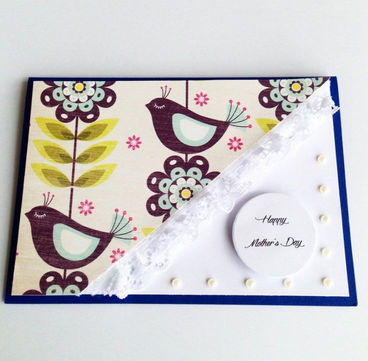 Love the lace and pearls that finish off this bird themed Mother's Day Card. Made by Pammypumpkin!