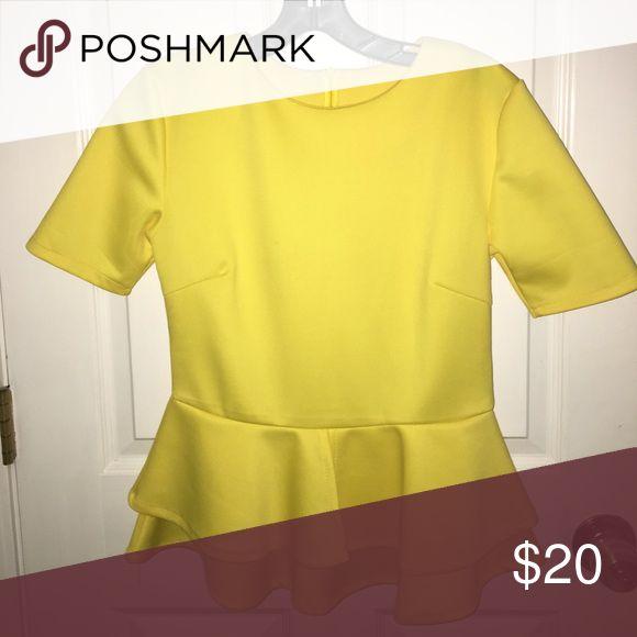 Yellow Peplum Top Bright yellow short sleeved peplum top Tops Tees - Short Sleeve