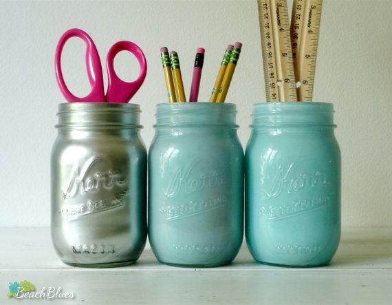 Dorm Decor Aqua and Silver Ombre Painted mason jar by BeachBlues