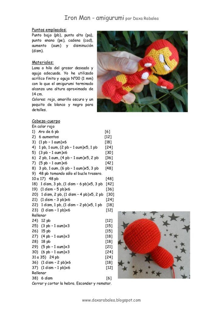 Tutorial gratis para tejer un IronMan amigurumi, con explicaiones en español y fotos paso a paso