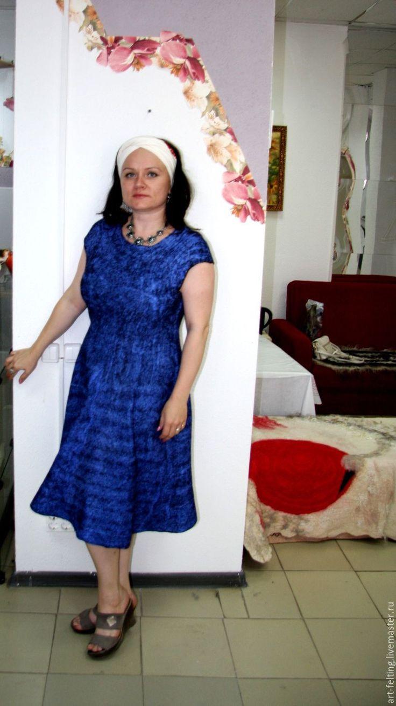 """Купить Валяный сарафан """"Летняя ночь"""" - синий, однотонный, черный, валяный сарафан, валяное платье"""