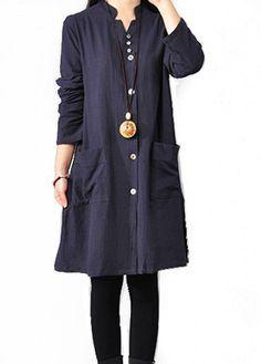 Navy Blue Side Slit Button Closure Dress  on sale only US$24.48 now, buy cheap Navy Blue Side Slit Button Closure Dress  at lulugal.com
