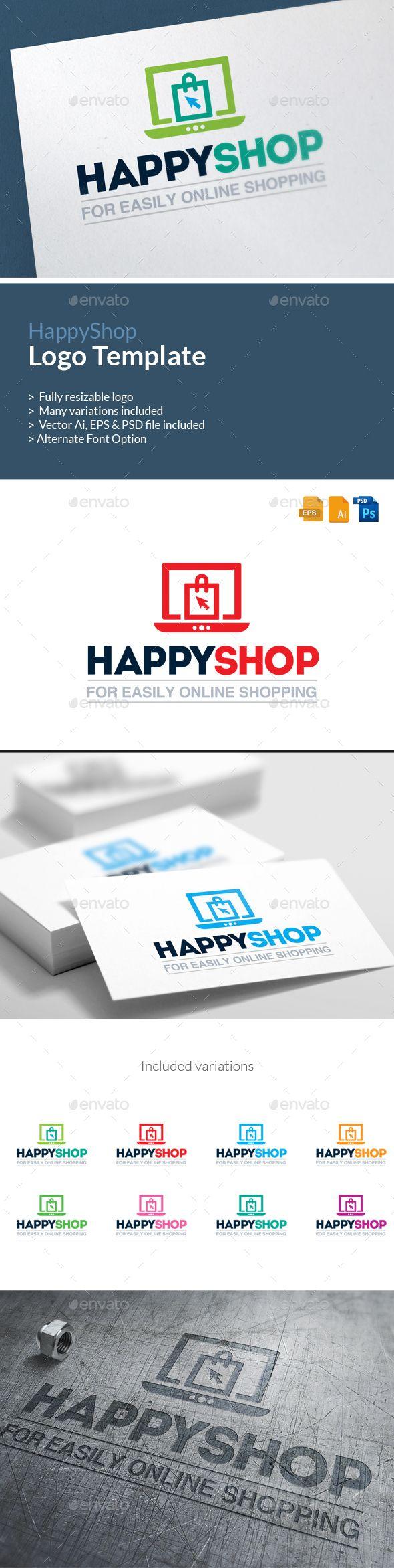 E-Commerce Logo Happy Shop Logo Template Vector EPS, AI. Download here: http://graphicriver.net/item/ecommerce-logo-happy-shop-logo-template/13933858?ref=ksioks