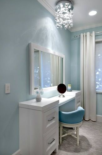 teen girls dressing table in blue room - Bedroom Design Blue