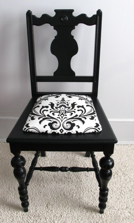 Put fabric around a pad and attach it to refurbished chair