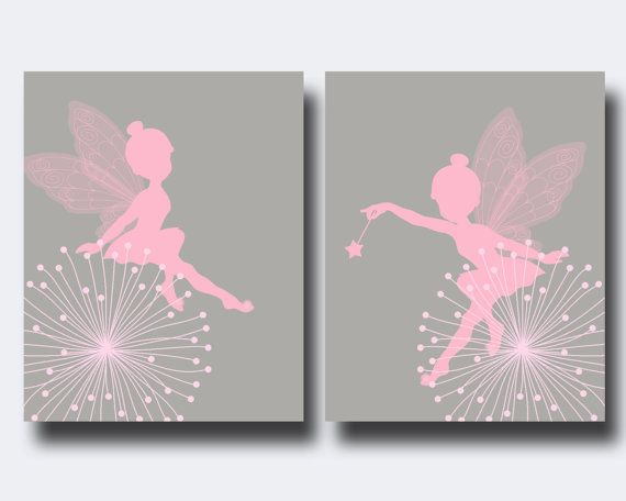 Fairy Nursery Wall Print Baby Girl Pink and Gray by HopAndPop