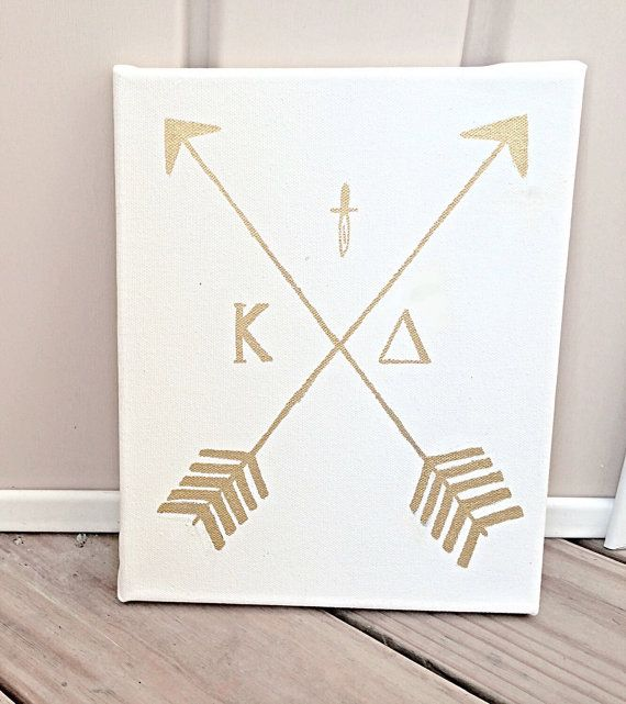 Sorority Canvas Kappa Delta Gold Arrow Canvas by CatchyCanvas