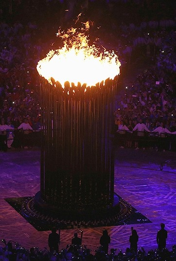 #London 2012 Olympics: Lighting the Olympic Flame - The Olympic Cauldron rises during the Opening Ceremony of the London 2012 Olympic Games  Picture: GETTY IMAGES