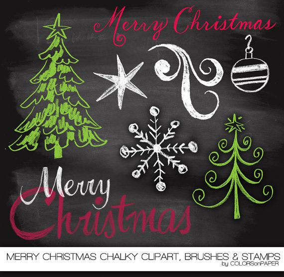 Merry Christmas Chalkboard Clipart, Photoshop Brushes and Stamps. Instant Download. Personal and Limited Commercial Use.