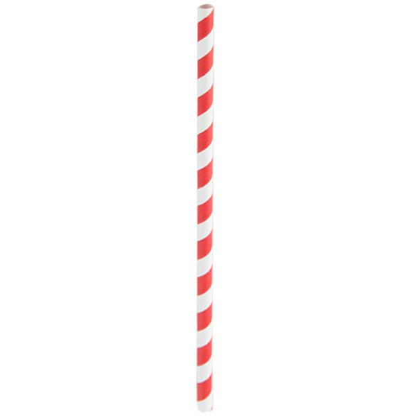 """These Red Striped Paper Straws will add a vibrant pop of color to your next party or event. The straws feature a bright red and white striped design and are coated in all natural beeswax for added sturdiness. Each straw measures 8.3"""" L and comes unwrapped. The whole collection of straws: black, pink, green, blue, gold and black."""
