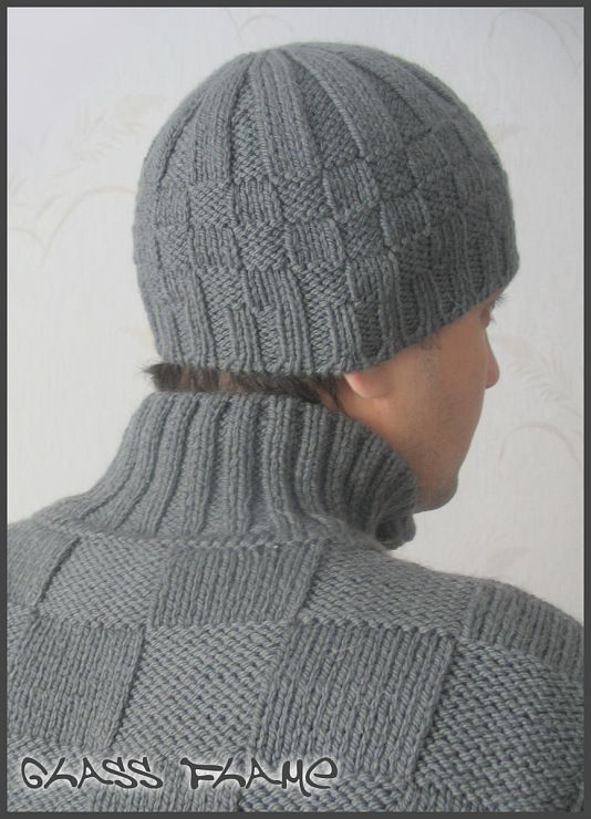 мужская шапка спицами фото | спицы | Photo-Find.ru