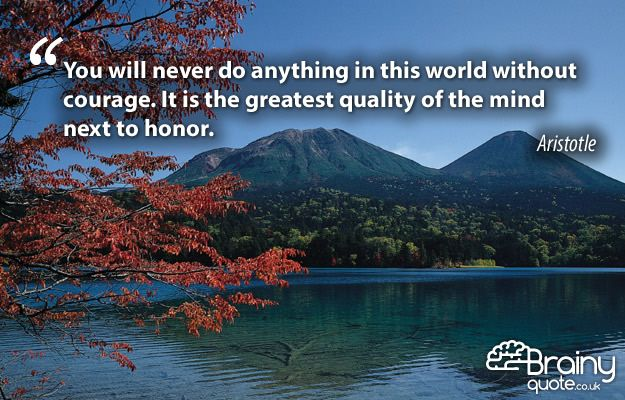 You will never do anything in this world without courage. It is the greatest quality of the mind next to honor. Aristotle
