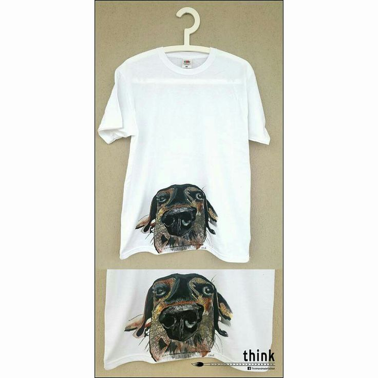 Handpainted  dog illustration on white t-shirt