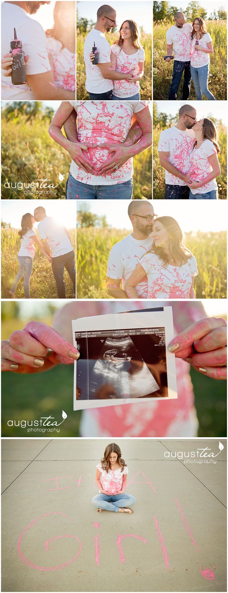 Gender Reveal, Paint, Chalk Gender Reveal, Ultrasound Gender Reveal, Maternity Portraits