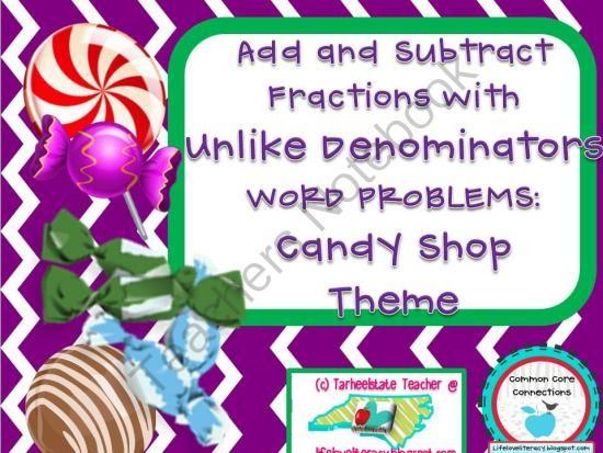 Add Sub Fractions w Unlike Denominators Word Problems ...
