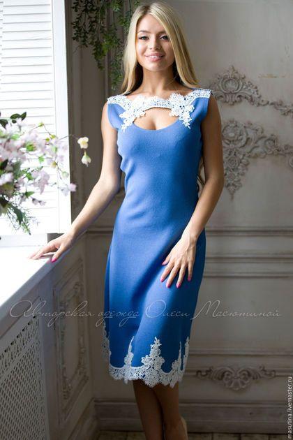 Купить голубое платье с кружевом